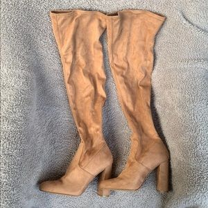 Light brown suede knee high heeled boots 10